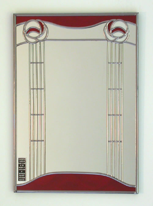 Mackintosh Mirrors Rectangular Designs Charles Rennie Stained Gl Leaded Arts And Crafts Glasglow Rose