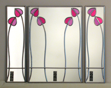 Mackintosh Mirrors Charles Rennie Mackintosh Mirrors Stained Glass Leaded Mirrors Arts And Crafts Glasglow Rose Mackintosh Rose Unusual Christmas Gifts Decorative Mirrors Hand Crafted Mirrors Winged Heart Mirrors Hunterian Museum University