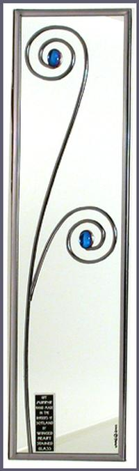 Minimalist Mirror Simple Floral Spiral in Blue
