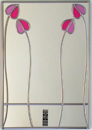 Rectangle Mirror Mackintosh Two Buds in Pink and Mauve