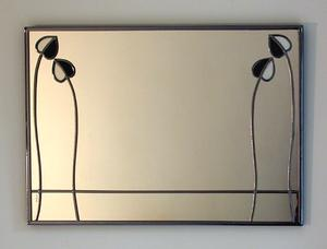 Mantlepiece Mirror Mackintosh Two Buds in Black and Frost